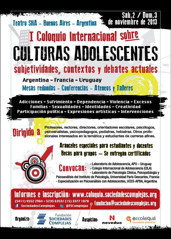 CARTEL Info Coloquio sobre Culturas Adolescentes - Nov2013